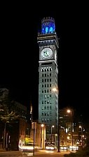 Emerson Bromo-Seltzer Tower at night