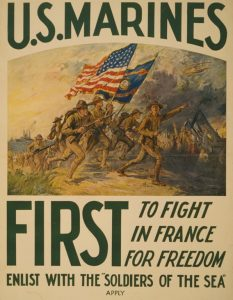 """World War I propaganda poster """"U.S. Marines First to fight in France for freedom"""""""