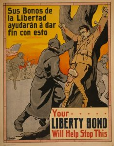 """World War I propaganda poster in Spanish """"Your Liberty Bonds will help stop this"""""""