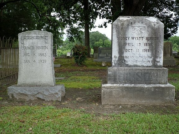 Graves of Sidney and his father Council at Willow Dale Cemetery, Goldsboro, NC