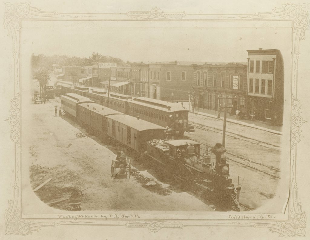 Goldsboro train downtown, 1873