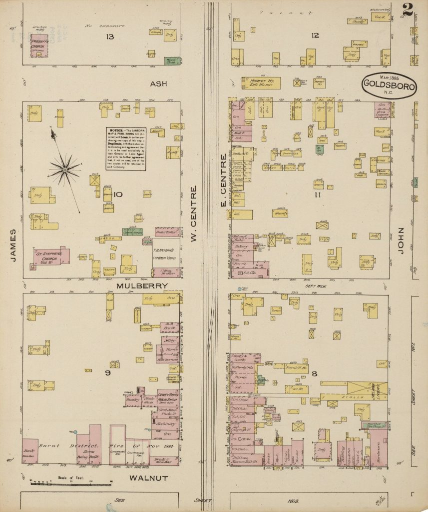 Section of 1885 Goldsboro Sanborn map