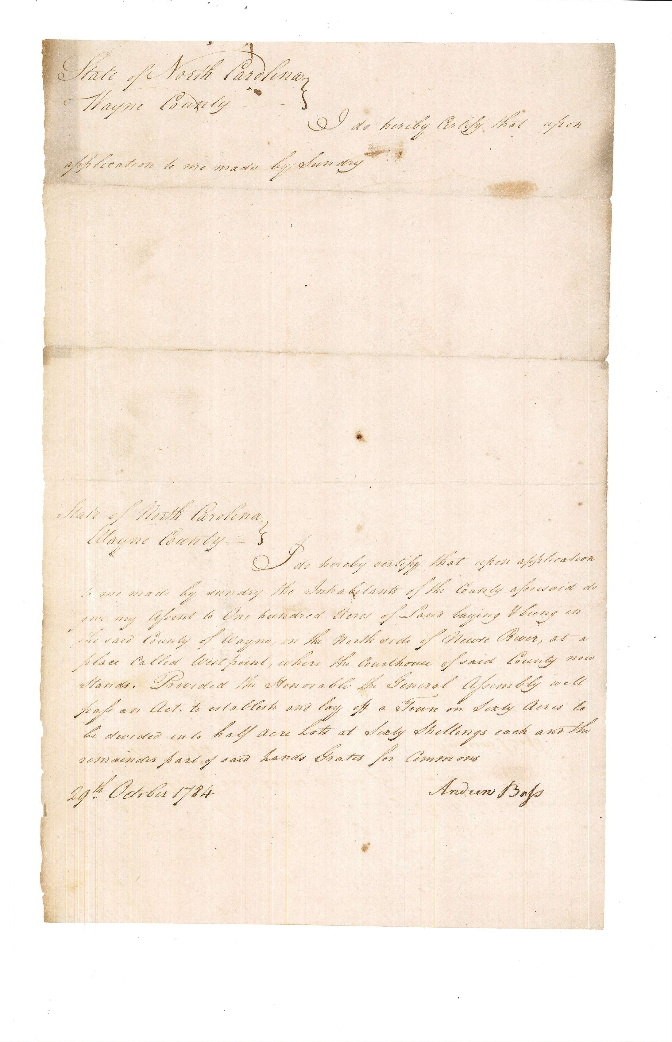 Waynesborough incorporation 1785, p5