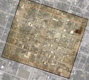 Waynesborough 1822 overlay on downtown Goldsboro