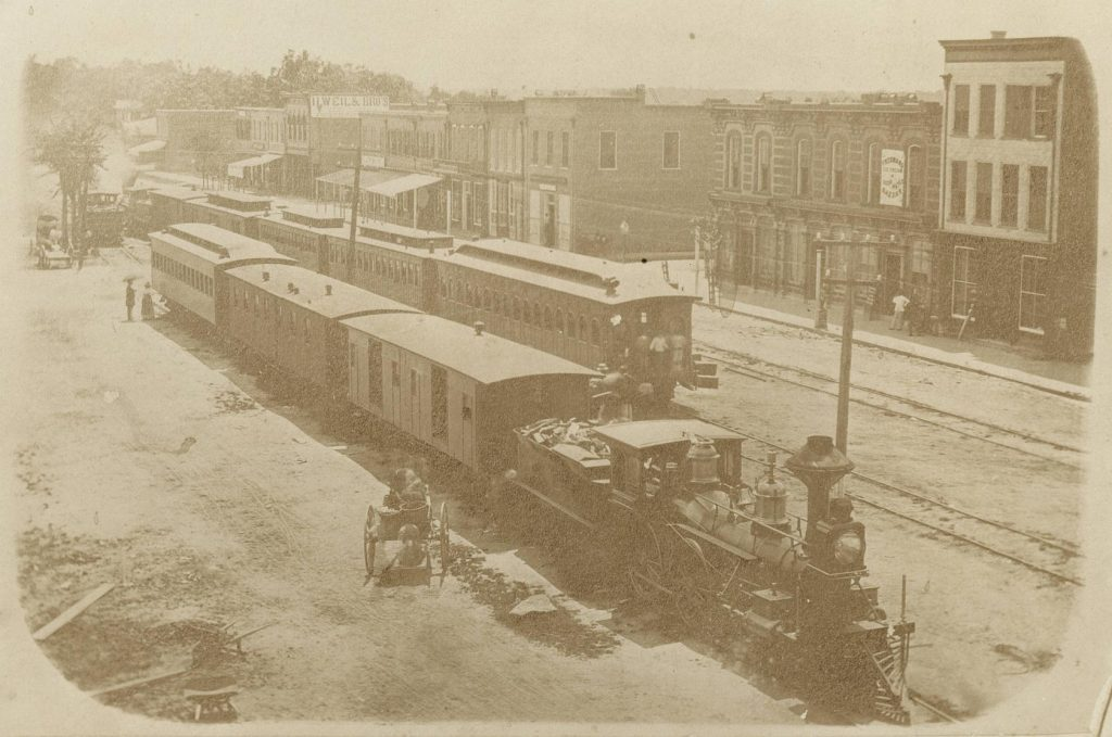 Railroad cars on Center Street, Goldsboro, 1870's