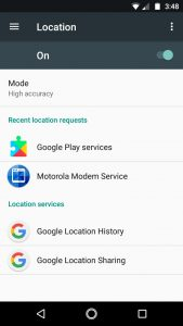 Android location menu