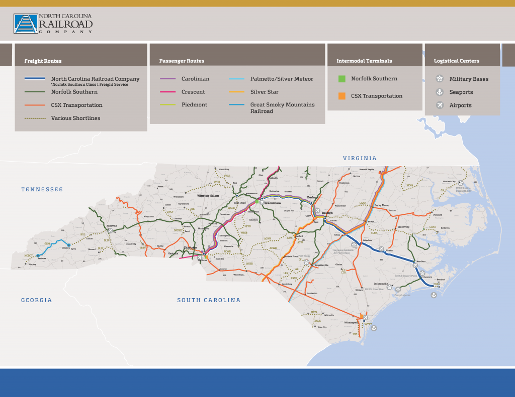 current NC Railroad corridor map