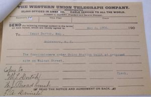 Telegram, NC RR Commission to Isaac Dortch