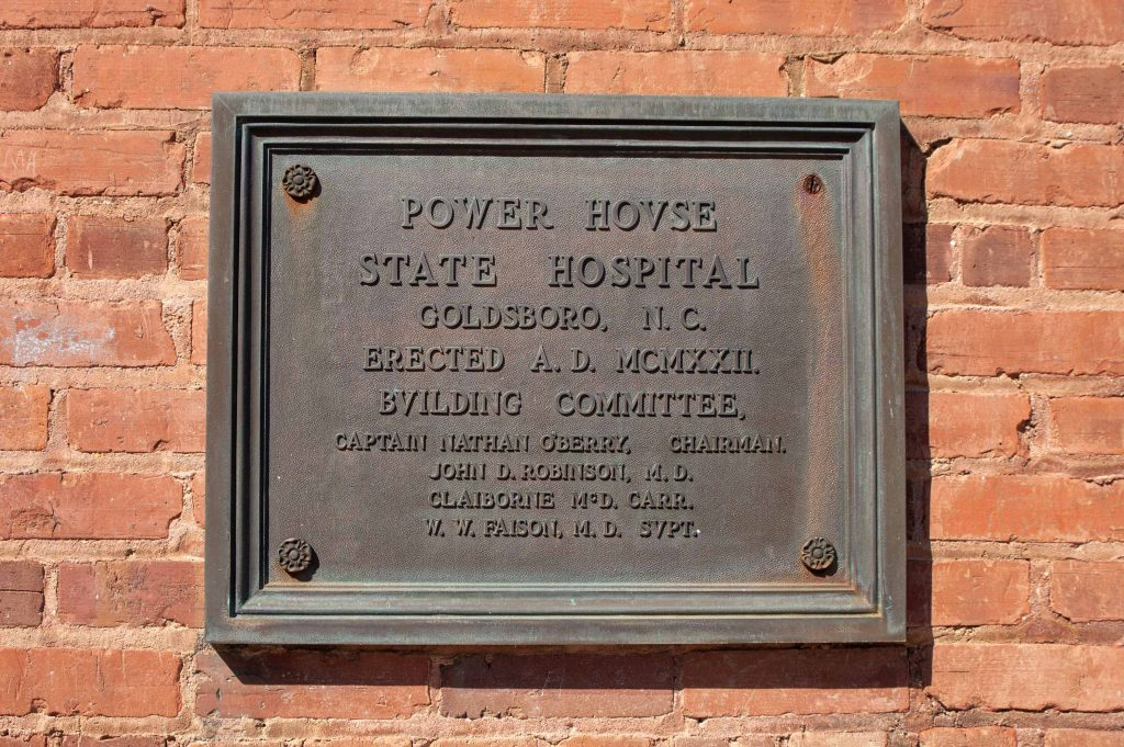 Cherry Hospital power plant plaque