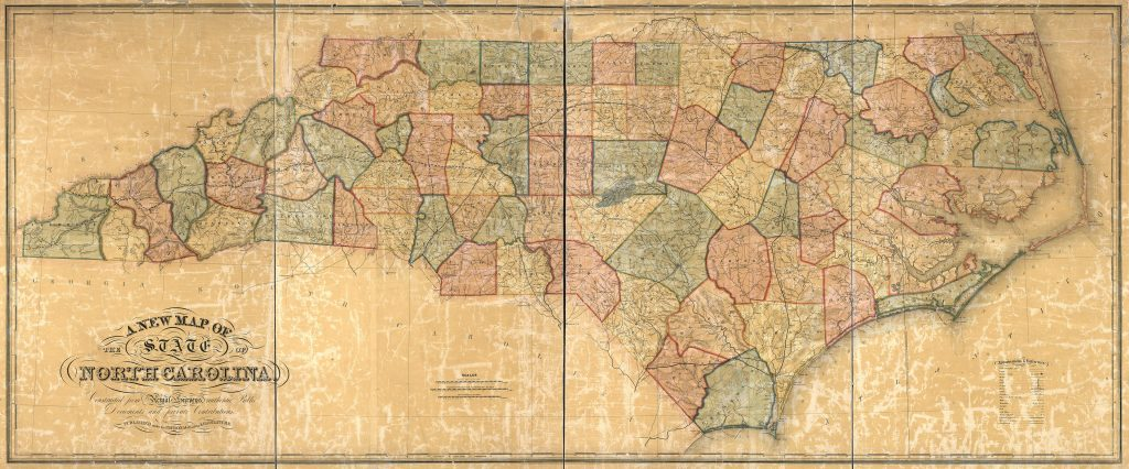 A new map of the state of North Carolina, 1854, by Wellington Williams