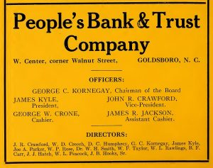 People's Bank & Trust, Goldsboro, 1923